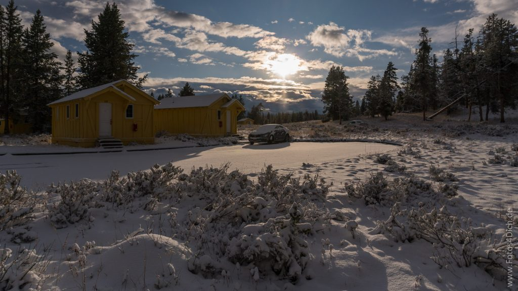 Sunset at the Cabins, covert with snow