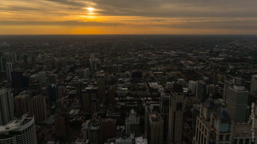 sunset over Chicago, view from John Hancock Center